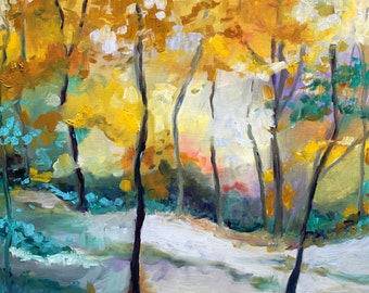 Art Print of Early Snow in Forest, My Original Oil Painting.  Abstract in Vibrant Colors. Unframed Art Print of  Fall Forest.