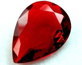 Glass Jewel 18x25mm Pear Shape Tear Drop Faceted Diamond Cut Pointed Unfoiled  - Ruby Red BR102 - 1 Piece
