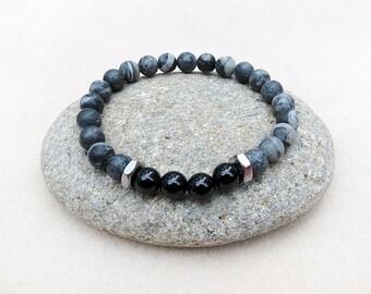 Black Onyx Bracelet, Men's Jewelry, Gray Stone, Stainless Steel, Mala Style, Stretch Bracelet, Zen, Yoga, Meditation, Handmade, Gift for Him