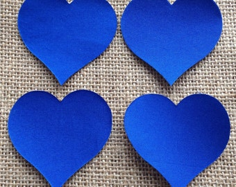 Fabric Iron on Small Royal Blue Hearts - Pack of 4