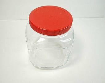 Vintage Square Glass Jar, USA Glass Jar, Old Glass Storage Jar, Home Decor