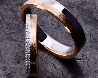 Wedding ring with a silk pavégezet with brilliant cut diamonds.