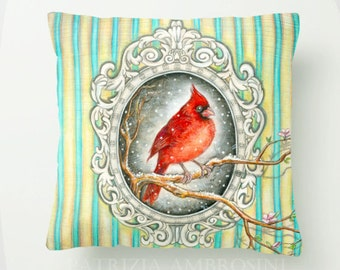 Throw Pillow Cover with pillow insert Indoor. animal art - woodland - fine - living room - childrens room - nursery - babies - reD CARDINAL