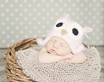 Owl hat, newborn owl hat, baby girl owl hat, pink fuzzy owl hat beanie,