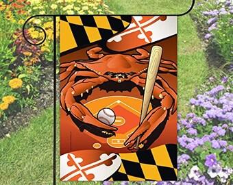Maryland Flag Orioles Crab Baseball Garden Flag