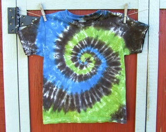 Youth XS Spiral Tie Dye T-shirt - Forest Swirl - Ready to Ship