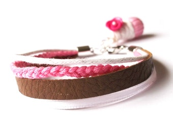 Braided Bracelet Cupcake ( funky jewelry cord lather bracelet pink brown white raspberry cupcake polymer clay mini food)