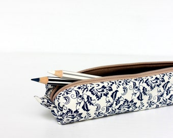 Royal Blue Floral Pencil Case, Zipper Pencil Case, Small Cosmetic Pouch