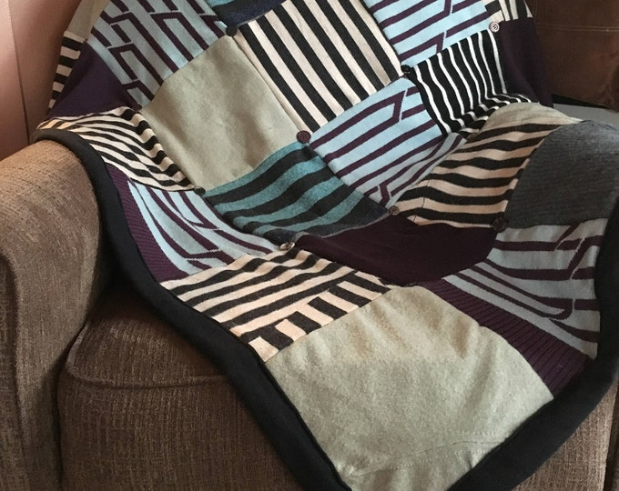 """My """"Bold Stripes!"""" Wool Sweater Quilt — I can make one similar for you!"""