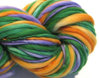 Super Bulky Handspun Yarn Secondaries 112 yards hand dyed merino green orange purple  waldorf doll hair knitting supplies crochet supplies