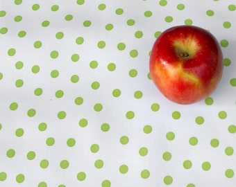 """Oilcloth: Lime Green Polka Dots - 41"""" x 60"""" remnant"""