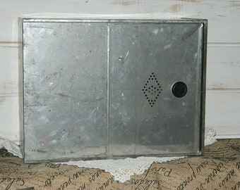 Tin Bread Box  - Storage Container - Sliding Door with Vent
