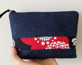 Makeup pouch, Denim and Black and Red flowers printed cotton fabric zippered pouch, Cosmetic zipper bag, Cute zipper pouch