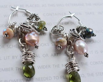 earrings, peridot earrings, pink opal earrings, hoop earrings, bohemian earrings, boho chic earrings, opal earrings, green earrings, pink