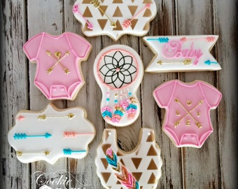 Tribal Baby Shower Decorated Cookies, Arrow Baby Shower Cookies, Rustic Decorated Cookies