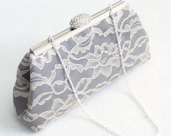 Bridesmaid Gift Clutch, Steel Grey, Light Pink And Champagne Bridal Clutch, Bridal Shower Gift, Wedding Clutch, Mother Of The Bride Gift