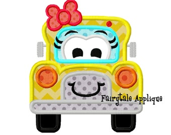 Digital Machine Embroidery Design -  Girly School Bus Applique