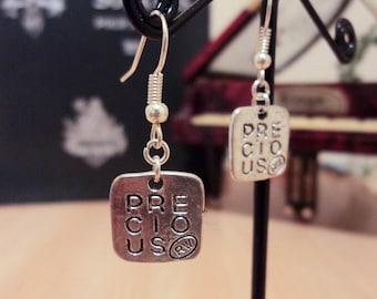 "Square earrings - Silver - ""precious"" 3.5 cm"