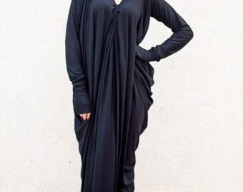Black Maxi Dress, Maxi Dress, Black Kaftan, Casual Dress, Black Long Extravagant Dress, Long Sleeves Loose Dress TDK07 by TEYXO