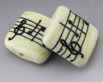 SRA Lampwork Beads Music Beads Ivory Cream Treble Clef Bead Flat Bead Shape Ivory Cream Handmade Lampwork Earring Pair Heather Behrendt SRA
