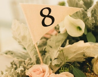 Pennant Flag Table Number, fabric flags with bamboo stick. Rustic, Country or Simple Wedding Decor. Variety of colors.