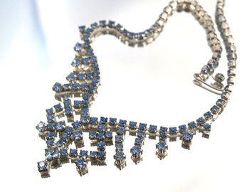 Vintage Blue Rhinestone Bib Necklace Choker  Wedding Bridal Formal