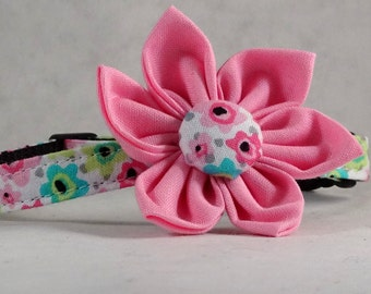Cat Collar or Kitten Collar with Flower - Flamingo Floral