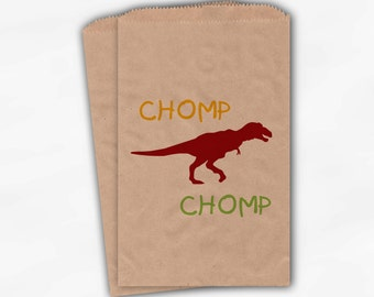 Dinosaur Birthday Party Candy Favor Bags - Custom Kraft Paper Treat Bags for Kids - 25 Paper Bags (0002)
