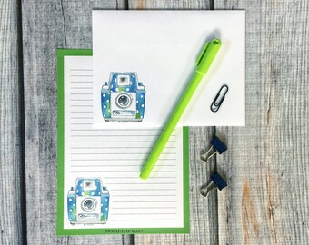 Stationery Set - polka dot camera - letter writing set