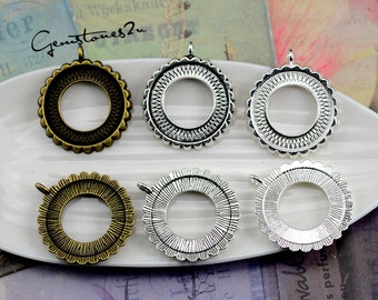 10pcs Zinc Alloy 25mm Round Bezel Cup Cabochon Mountings, Round Cabochon Pendant Base, lacework findings, Jewelry Pendant Blanks Suppliers