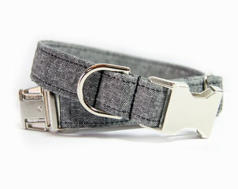 Black Linen Dog Collar, Wedding Dog Collar, Black Linen