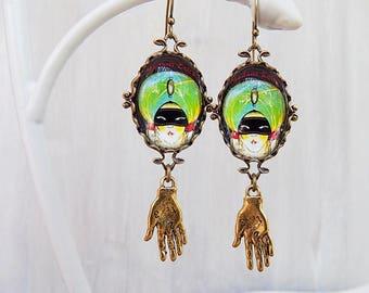 Fortune Teller Earrings - Art Deco Earrings - Palmistry Earrings - Gypsy earrings - Gypsy jewelry - Palmistry - boho jewelry - boho earrings