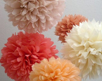 Peach and Rose tissue paper pompoms coral rose gold rustic barn wedding wall decorations aisle marker baby bridal shower first 30 birthday