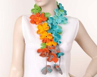 crochet flower  lariat scarf ,
