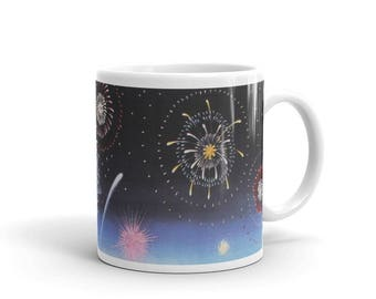 """Mug made in the USA, """"Fourth of July"""" detail, painting by Kathy Jakobsen"""
