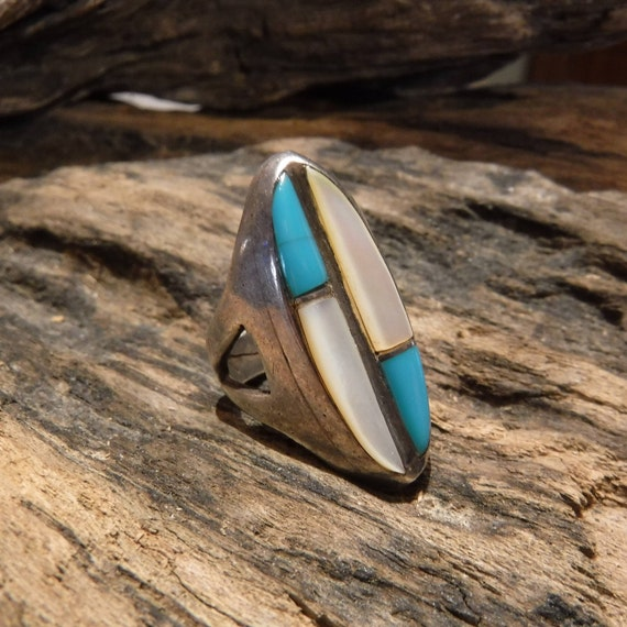 Navajo Zuni Native American Silver Ring Weight 8.6 Grams Size 5.5 Turquoise MOP  Inlay Sterling Silver Ring  Native American Sterling Rings