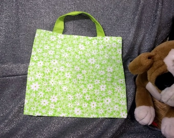 Library Book Lunch Gift Tote Bag, Flowers Lime Green Print