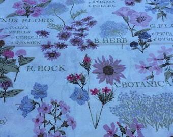 """Vintage 1940-1950 Botanical print 100% cotton chintz fabric 36"""" wide sold by the yard"""