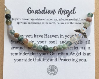 Jasper Gemstone Guardian Angel Bracelet