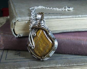 Tiger Eye Sterling Silver and Brown Wire Wrapped Pendant