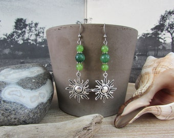 "Earrings silver dangle ""Sun"" green natural stones"