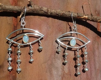 EYE OPAL Silver And GOLD earrings / Eye Earrings / Horus Eye inspiration earrings/ Third Eye inspiration earrings