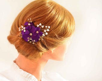 Purple hair clip, Flower headpiece, Beaded headpiece, Bridal hair clip, Pearl headpiece Wedding hair accessory bridesmaids hair clip