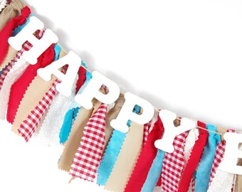 Red, Aqua and Natural Birthday Party - County Fair Birthday - Girl's Birthday Party - Rag Banner - Photography Prop