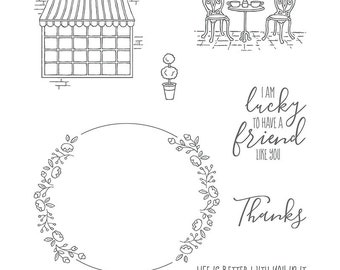 New Retired Charming Cafe BUNDLE  Clear-Mount Stamp Set and Coordinating Dies