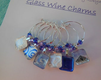 Glass Wine Charms - Royal Blue Glass Charms - Lt. Blue Charms - Set of Six - Glass Charms - Hostess Gift - House Warming Gift - Shower Favor
