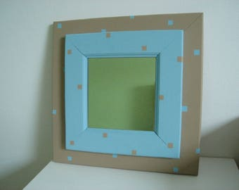 square mirror bicolor Brown and blue