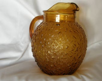 Vintage Anchor Hocking Textured Glass Lido Ball Glass Pitcher