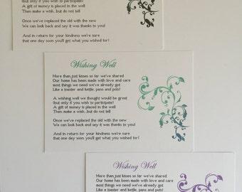 Wishing Well Cards (20 Pack)  Wedding, Engagement, Purple, Aqua/Blue, Black/Silver, (Flourish)