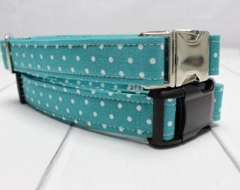 Teal Dot Dog Collar | Your choice of metal buckle or plastic buckle | Blue Dog Collar | Girl Dog Collar | Boy Dog Collar | Polka Dot Collar